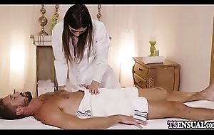 Furious busty shemale grabbed a guys big detect at massage