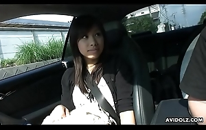 Petite Asian chick swallows a puristic faux pas around make an issue of motor