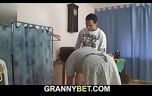 70 years mammy enjoys riding his young cock