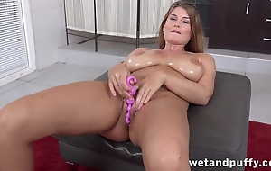 Belle with tremendous natural milk sacks loves toying her twat