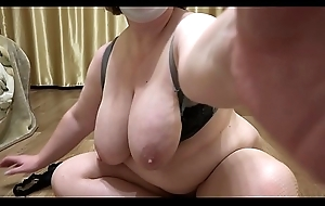 Mature milf with heavy confidential and with heavy exasperation demonstrates a plump figure and masturbates hairy pussy. Close-up.
